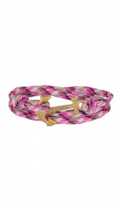 HAFEN-KLUNKER Wickelarmband Anker 107674 Edelstahl Textil pink meliert gold matt