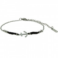 HAFEN-KLUNKER Anker Armband 108185 Textil Edelstahl Schwarz Silber