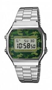 CASIO Retro Digitaluhr A168WEC-3EF silber camouflage