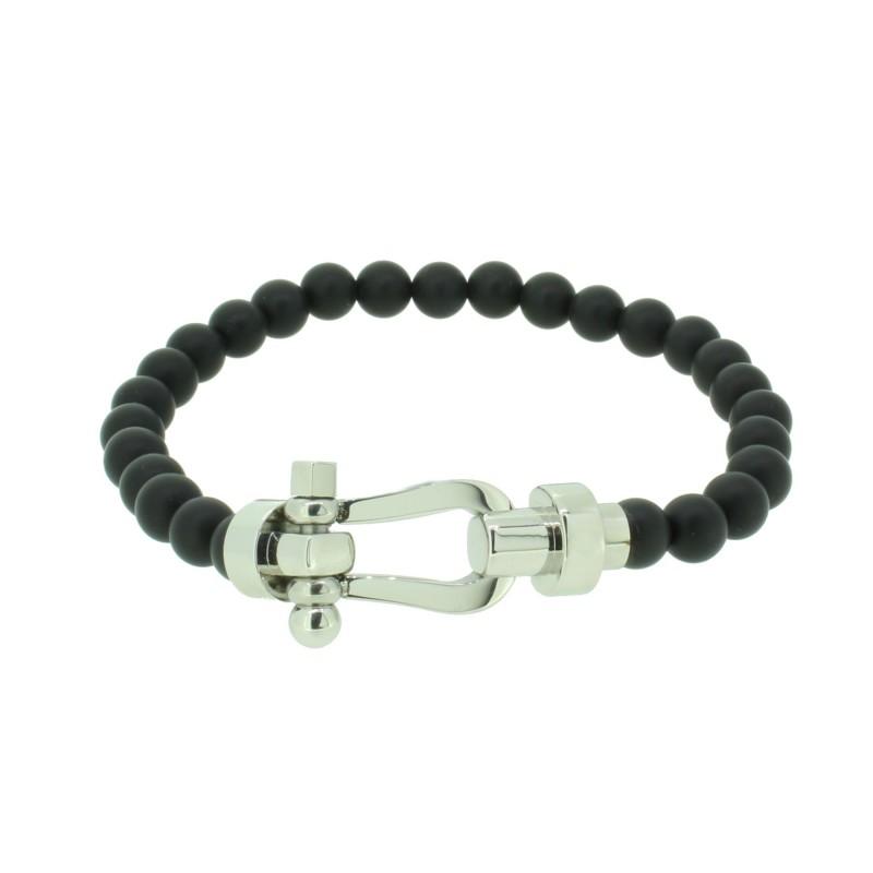 HAFEN-KLUNKER HAPPINESS Collection Armband Schäkel 110538 Edelstahl Onyx Schwarz Silber