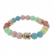 Silverart Buddha Armband 108101 FAB086 Achat Honig-Jade Aquamarin pastell bunt Metal nickelfrei rose