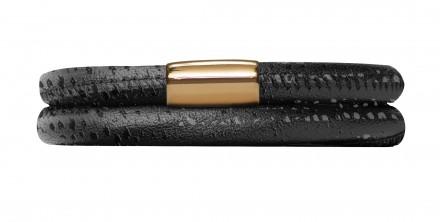 Endless JLo Armband Schwarz Reptil 1053-38 2 reihig Leder schwarz