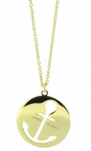 HAFEN-KLUNKER Glamour Collection Halskette Anker 108053 Edelstahl Anker ausgestanzt rund groß gold