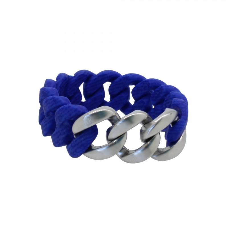 HANSE-KLUNKER ORIGINAL Damen Armband 107723 Edelstahl jeans marine blau silber matt