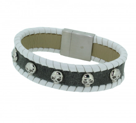 POLICE Herren Armband PJ24410BLGR-01-S Leder grau weiss