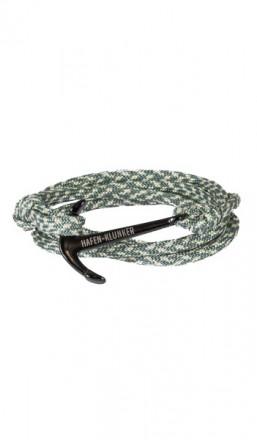 HAFEN-KLUNKER Wickelarmband Anker 107680 Edelstahl Textil grün meliert schwarz