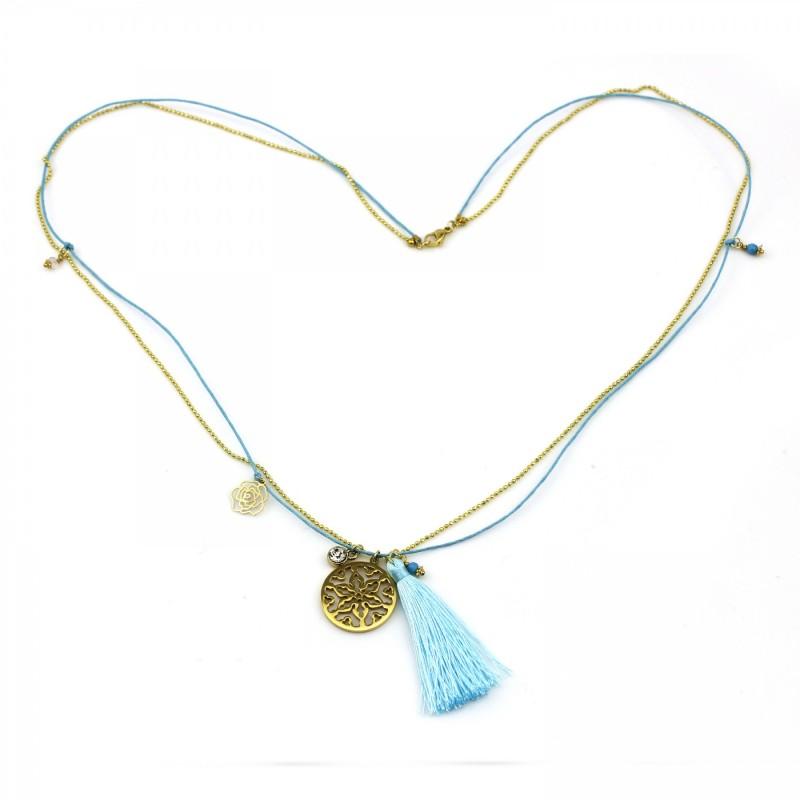 PEARL BAY Damen Kette 107584 Quaste Amulett Edelstahl gold türkis