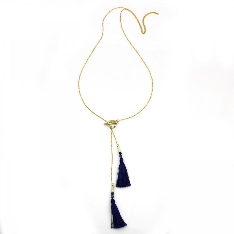 PEARL BAY Damen Kette 107588 Quaste Stein Metall blau gold