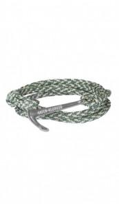 HAFEN-KLUNKER Wickelarmband Anker 107679 Edelstahl Textil grün meliert silber