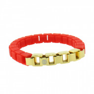 HANSE-KLUNKER FASHION Damen Armband 108005 Edelstahl leuchtrot gold