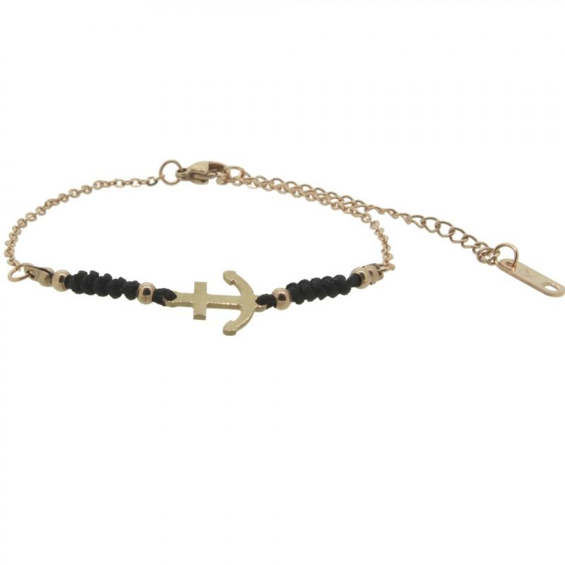 HAFEN-KLUNKER HARMONY Anker Armband 110424 Textil Edelstahl Schwarz Rosegold