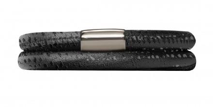 Endless JLo Armband Schwarz Reptil 1003-40 2 reihig Leder schwarz