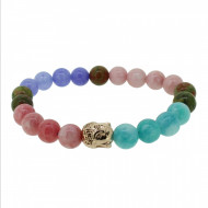 Silverart Buddha Armband 108091 FAB081 Achat Unakit rose lila türkis Metal nickelfrei rosegold