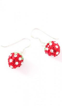 Crystal Line Ohrhänger TPOR110SW Erdbeere Silber rot grün