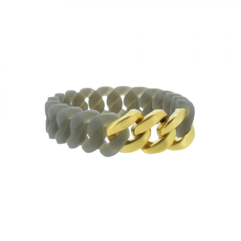 HANSE-KLUNKER MINI Damen Armband 107966 Edelstahl grau gold matt