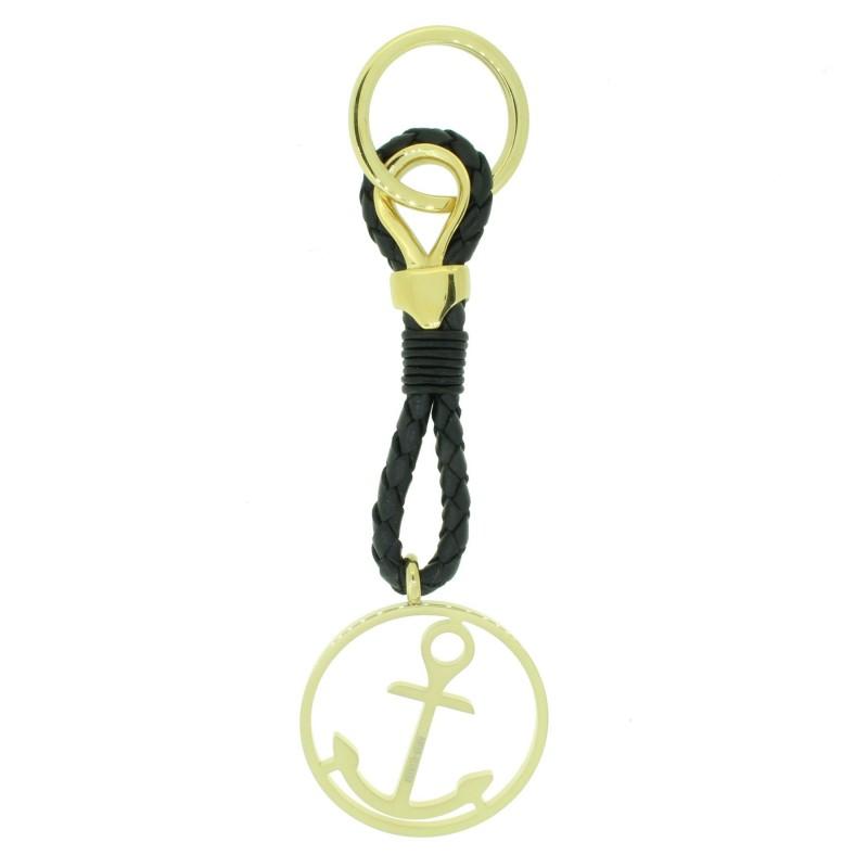 HAFEN-KLUNKER Sailor Collection Schlüsselanhänger rund mit Anker 110567 Leder Edelstahl schwarz gold