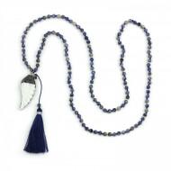 PEARL BAY Damen Perlenkette 107592 Quaste Engelsflügel Muschel Strass Stein blau