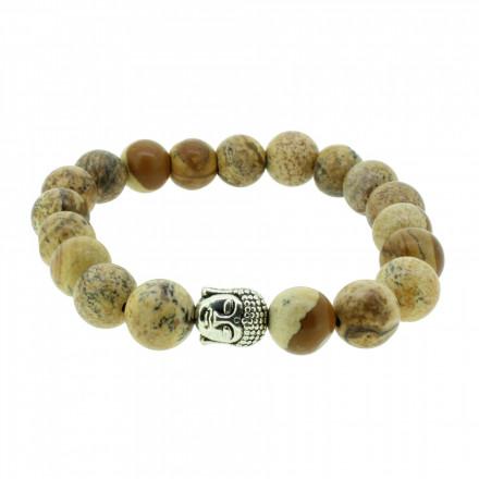 Silverart Buddha Armband 107838 FAB042 Jaspis braun Metal nickelfrei versilbert