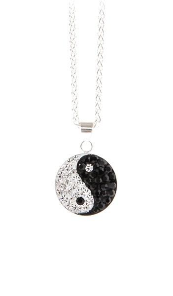 Crystal Line Anhänger TPAH107SW Yin Yang Silber schwarz weiss