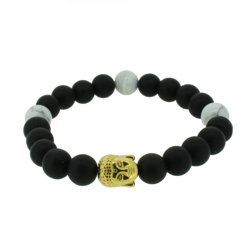 Silverart Buddha Armband 108094 FAB082 Obsidian Howlith schwarz weiß Metal nickelfrei vergoldet