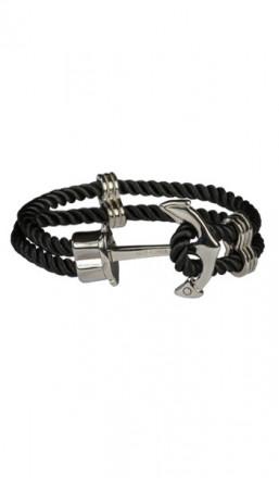 HAFEN-KLUNKER Anker Armband 107753 Edelstahl Textil schwarz silber
