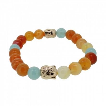 Silverart Buddha Armband 108097 FAB084 Achat Aquamarin orange blau Metal nickelfrei rosegold