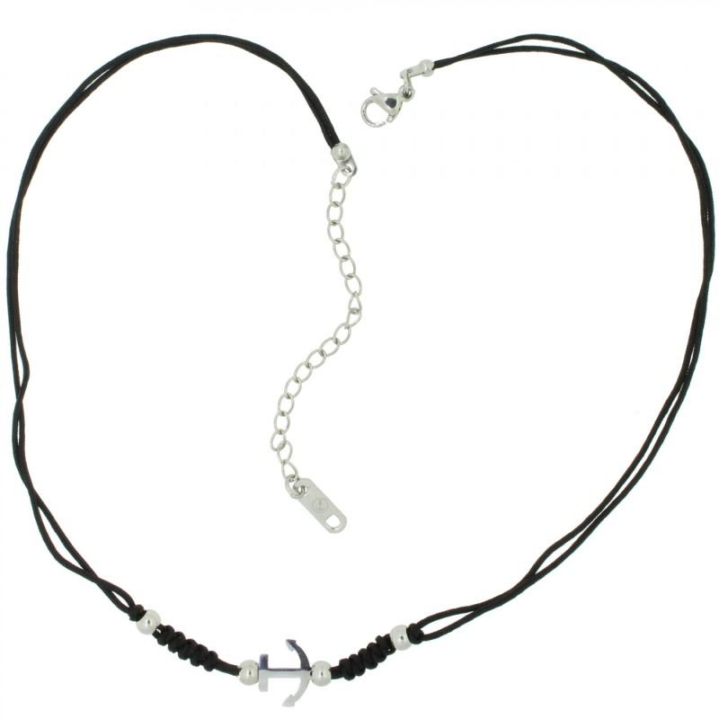 HAFEN-KLUNKER HARMONY Choker Halskette Anker 110437 Textil Edelstahl Schwarz Silber