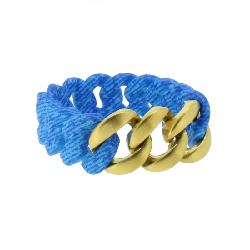 HANSE-KLUNKER ORIGINAL Damen Armband 107960 Edelstahl jeans aqua blau gold matt