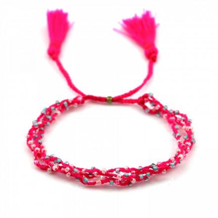 PEARL BAY Perlenarmband geflochten 107566 Quaste pink weiss