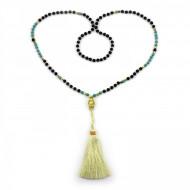 PEARL BAY Damen Perlenkette 107600 Buddha Quaste Lava Stein gold beige schwarz