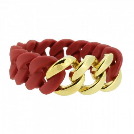 HANSE-KLUNKER ORIGINAL Damen Armband 106787 Edelstahl rot gold