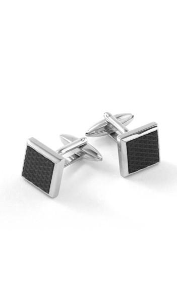 Grey Manschettenknöpfe 100061 Edelstahl Emaille silber schwarz