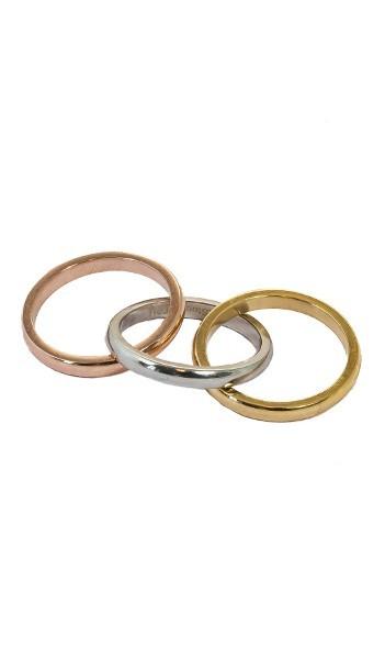 Grey Ring Set 3tlg. GR004 Edelstahl silber gold rose