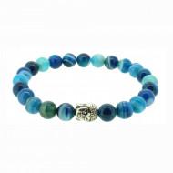 Silverart Buddha Armband 107856 FAB024 Achat blau türkis Metal nickelfrei versilbert