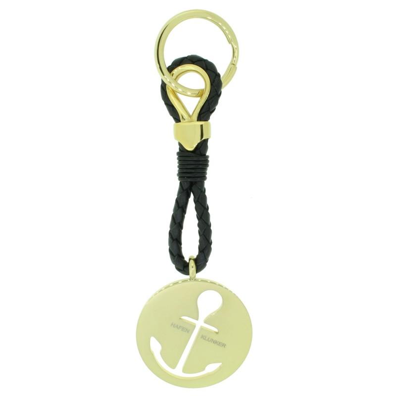 HAFEN-KLUNKER Sailor Collection Schlüsselanhänger rund Anker ausgestanzt 110564 Leder Edelstahl schwarz gold