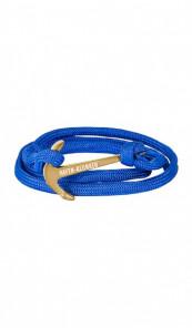 HAFEN-KLUNKER Wickelarmband Anker 107663 Edelstahl Textil blau gold matt