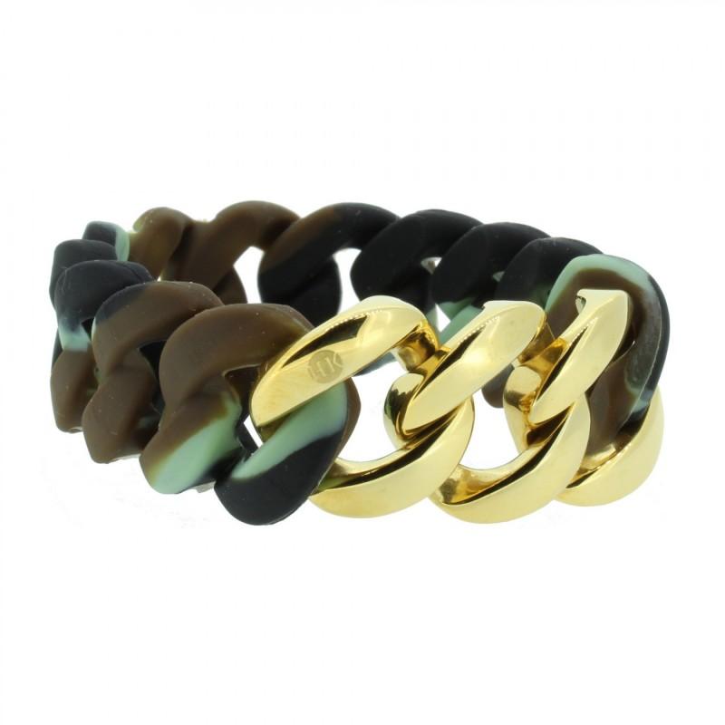 HANSE-KLUNKER ORIGINAL Damen Armband 106783 Edelstahl camouflage gold