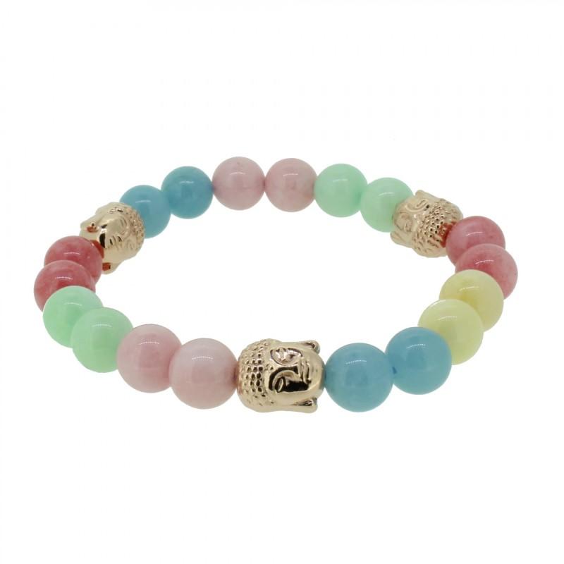 Silverart Buddha Armband 108101 FAB086 Achat Honig-Jade Aquamarin pastell bunt Metal nickelfrei rosegold