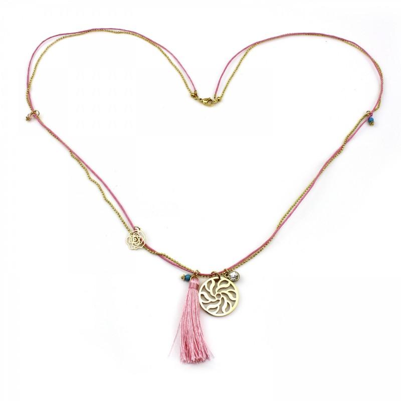 PEARL BAY Damen Kette 107594 Quaste Edelstahl Amulett rosa gold