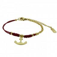 HAFEN-KLUNKER Anker Armband 108174 Textil Edelstahl Rot Gold