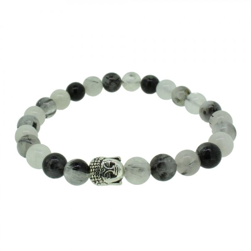 Silverart Buddha Armband 108083 FAB076 Rutil schwarz weiß Metal nickelfrei versilbert