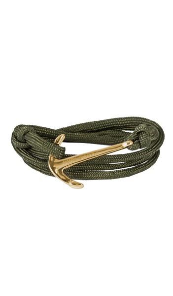 Armband Anker Damen In Gold & Khaki Aus Edelstahl & Nylon - Wickelarmband verstellbar, Geschenkidee Für Frauen