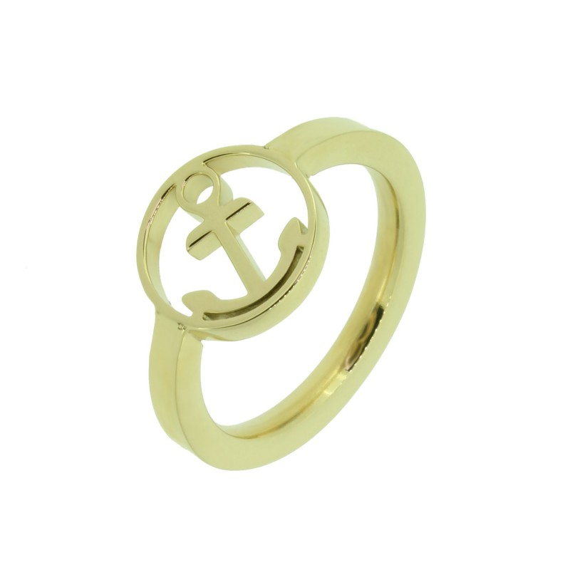 HAFEN-KLUNKER Glamour Collection Ring Anker 110524 Edelstahl Gold