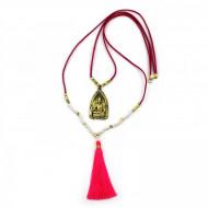 PEARL BAY Damen Kette 107615 Quaste Buddha Leder Metall Kristall pink gold weiss
