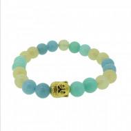 Silverart Buddha Armband 108088 FAB079 Aquamarin Amazonit Honig-Jade mint beige Metal nickelfrei ver