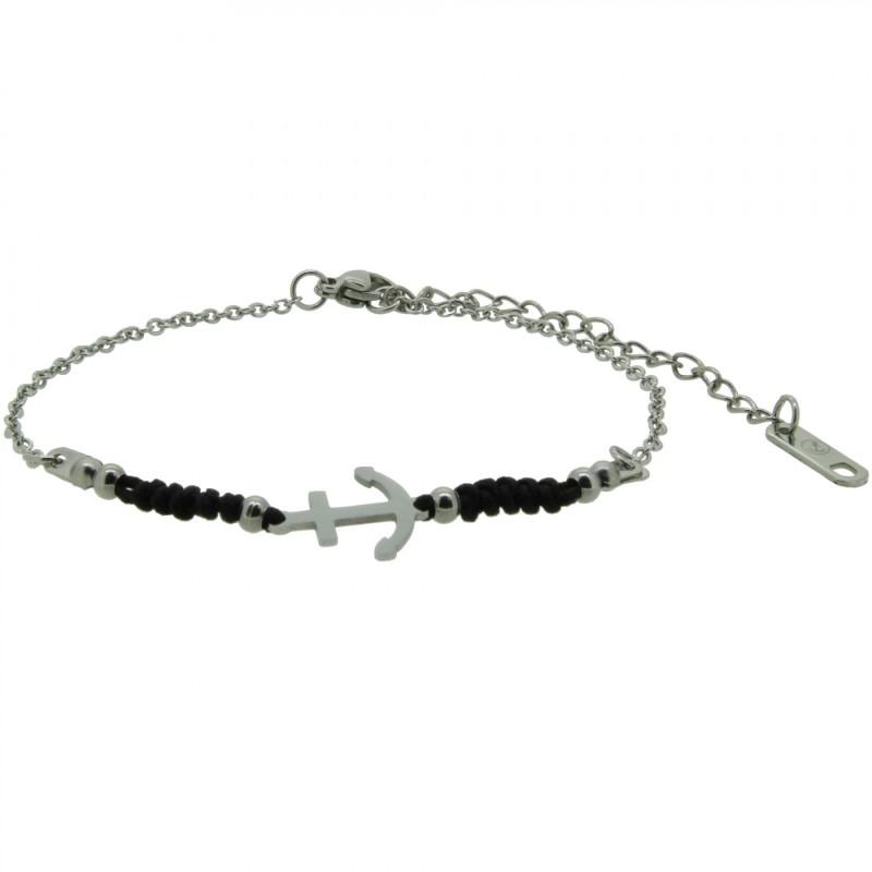 HAFEN-KLUNKER HARMONY Anker Armband 110422 Textil Edelstahl Schwarz Silber