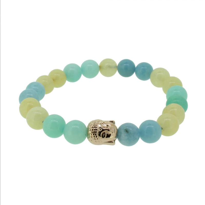 Silverart Buddha Armband 108087 FAB079 Aquamarin Amazonit Honig-Jade mint beige Metal nickelfrei rosegold