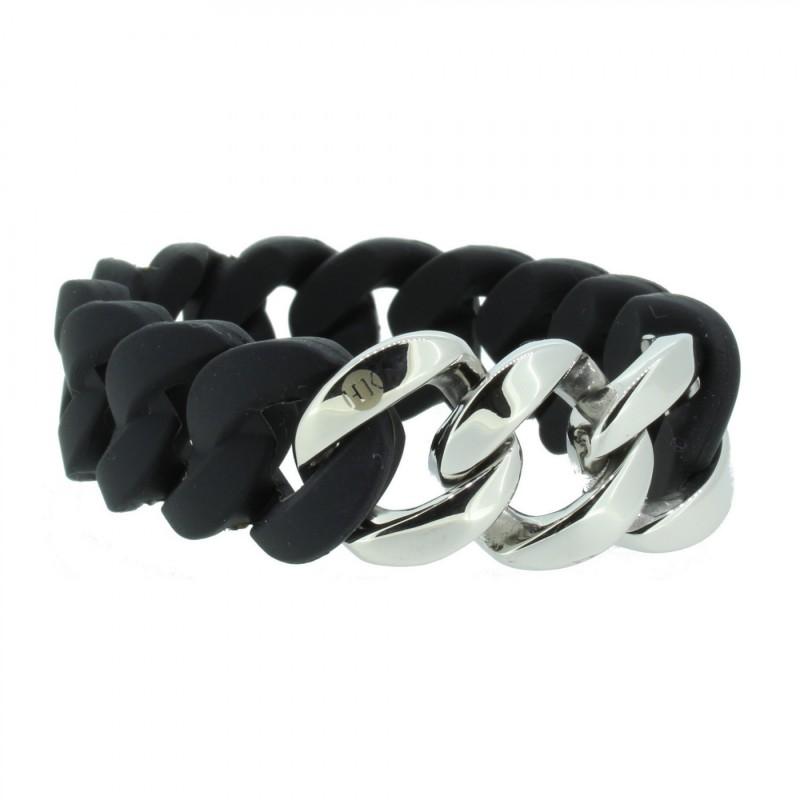HANSE-KLUNKER ORIGINAL Damen Armband 106778 Edelstahl schwarz silber