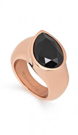 Tamaris Ring Amy 100484 Edelstahl Swarovski schwarz rosegold