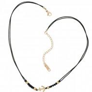 HAFEN-KLUNKER Choker Halskette Anker 108202 Textil Edelstahl Schwarz Rosegold